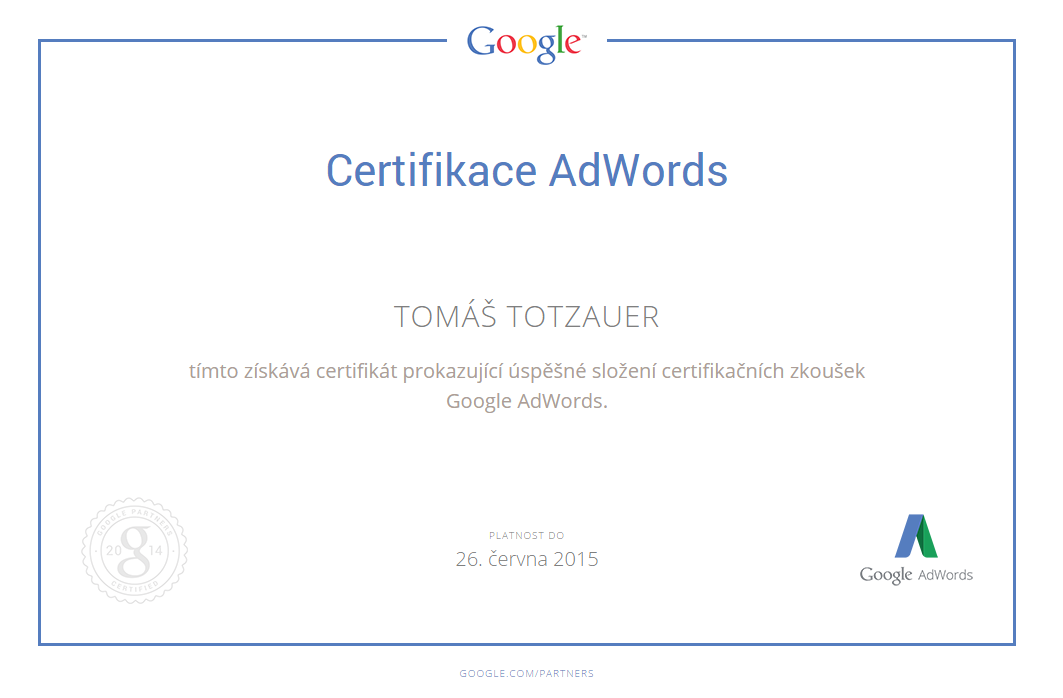 Google Adwords certifikace
